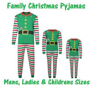 CHRISTMAS PYJAMAS FAMILY XMAS ELF THEME EX STORE MUM DAD KIDS PJ SETS NIGHT WEAR