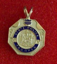 New York State Police Trooper Mini Badge Pendant 14K Yellow Gold 3.1 Grams