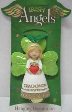 IRELAND IRISH ANGELS GREEN GLITTER CLADDAGH HANGING DECORATION WITH BELL