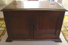 Antique mahogany table top collectors cabinet having two doors