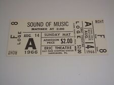 THE SOUND OF MUSIC 1966 THEATRE TICKET Julie Andrews Christopher Plummer USA whi