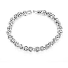 "7.5"" Tennis Bracelet w Swarovski Elements 18K White Gold Filled"