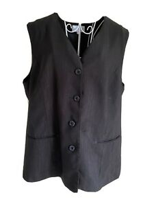Maria Women's Waistcoat Size 20 Black Sparkly With Buttons Formal V Neck