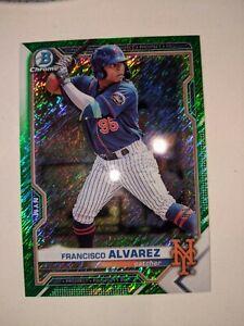 2021 Bowman Chrome Francisco Alvarez Green Shimmer 01/99 New York Mets