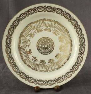 Vintage Homer Laughlin China CALENDAR Plate 1954 Horoscope Zodiac Gold Trim