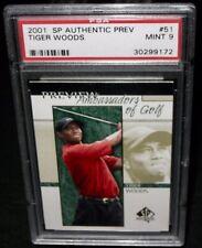 PSA 9 Mint 2001 SP Authentic TIGER WOODS Rookie Golf Card #51 PGA Tour RC