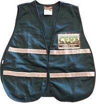 IVC208-CERT Green Safety Vest w Imprinted Pocket Cards Front/Back Silver Stripes