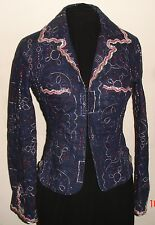 Voyage Passion Blue Denim Metallic Embroidered Jacket size 44  Italy Gorgeous!!!