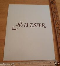 Sylvester Melissa Gilbert 1985 Movie Program credits sheet card give-away