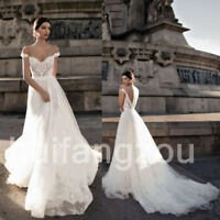 White Ivory Wedding Dresses Bridal Gowns A Line Off Shoulder Lace Appliques Fall