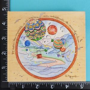 Power of a Dream 80200 Hot Air Balloons Poem Stamps Happen Wood Rubber Stamp