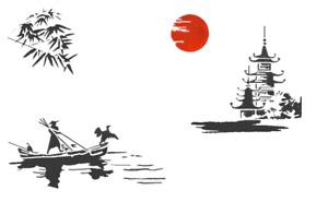 high detail airbrush stencil chinese scenery FREE UK  POSTAGE