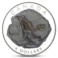 CANADA 4 DOLLARS DINOSAUR DROMAEOSAURUS GIANTS OF PREHISTORY SILVER 2010 PROOF