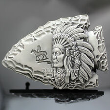 Vintage Silver Tribal 3D Indian Chief Arrow Head Rodeo Zuni Navajo Belt Buckle