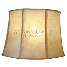 "Southwestern Rawhide - Leather Lamp Shade - 17""Hx25""Wx21""W - Off-White Color"