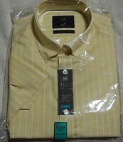 "NEW MENS GENTS SHORT SLEEVED STRIPED SHIRT Ex M&S Collection. SIZE 15.5"" COLLAR"