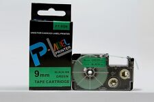 """Compatible Casio XR-9GN Black on Green 9mm 8m Label Tape 3/8 x 26"""" KL120 XR-9GN1"""