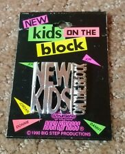 NEW! Vintage New Kids On The Block Chrome Metal Pin NKOTB Silver 1990 rock pop