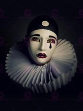 Photo Portrait Study Performer Pierrot Mask Costume Canvas Art Print