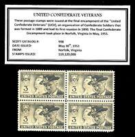 1951 - UNITED CONFEDERATE VETERANS (UCV) -Mint Block of 4 Vintage Postage Stamps