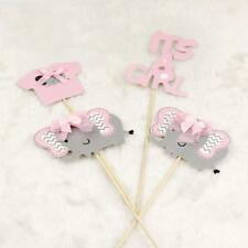 4pc/Set Elephant Its a Girl Cake Topper Cupcake Picks Party Baby Shower Decor LD
