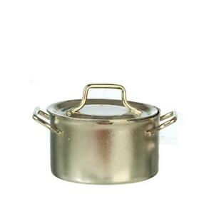 Dolls House Silver Saucepan Pan Stock Pot Miniature Kitchen Cookware Accessory