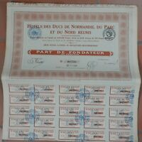 Hotel des Ducs de Normandie, du Parc et du Nord réunis, action de 500 francs