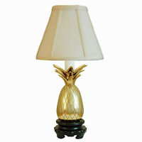 TABLE LAMPS - SAVANNAH PINEAPPLE MINI LAMP - POLISHED BRASS WITH OFF WHITE SHADE
