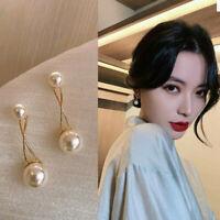 Doppel Perlen Ohrringe Ohrringe Ohrstecker 925 Gold rosegold  Perle rund Kreis