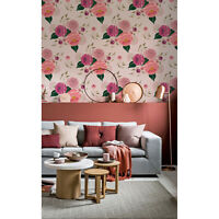 Pink spring floral Removable wallpaper pink and white Home Decor
