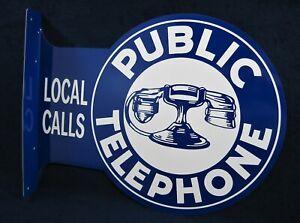 PUBLIC TELEPHONE - *US MADE* - Metal Flange Sign - Man Cave Garage Bar Pub Decor