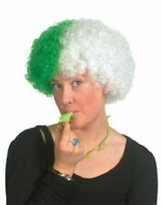 SUPPORTERS AFRO WIG RUGBY FANCY DRESS GREEN AND WHITE CURLY FESTIVAL RAVE