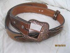 Ariat Natural Ostrich Men's Leather Western Belt with Copper Conchos Sz 36 ~*~*~