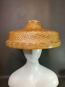 Chinese Oriental Asian Woven Coolie Rickshaw Rice Paddy Farmer Hat
