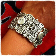 Fashion Vintage Thai Silver Carving Wide Cuff Bracelet Bangle Bohemian Style