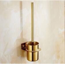Bathroom Stainless Steel Nail Free Golden Color Toilet Brush Holder w/Brush Set