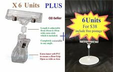 6 Each New For Sale Price Sign Card Display Stand and Clip for Cloth Rack Basket
