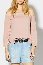 Decjuba Elena Off Shoulder Top Size 10 Blush Pink 3/4 Sleeve Casual Womens