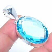 "Swiss Blue Topaz Gemstone Handmade Jewelry Pendant 1.77"" VS-78"