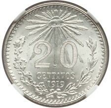 MEXICO ESTADOS UNIDOS 1919  20 CENTAVOS COIN CERTIFIED UNCIRCULATED NGC MS66