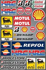 31x STICKER SHEET QUALITY PRINTED STICKERS HRC CASTROL MOTUL SHELL AGIP NGK
