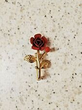 Brooch-Vintage Pin Red Rose