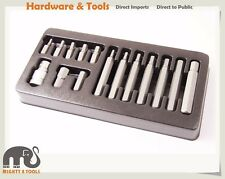 "15pc 4-12mm Cr-V 1/2"" Dr. Hex Allen Key Wrench Socket Bits Set Made in Taiwan"
