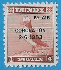 + 1953 Lundy Island Bristol Channel 1p Puffin Coronation by Air Overprint MNH