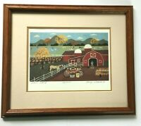 Nancy Lubeck Farm Stand Signed Numbered framed matted lithograph 27/950