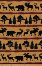 Fleece Northwood Moose Elk Bear Tree Animal Fleece Fabric Print A241.07