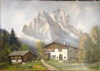 Alpi Dipinto a Olio Capanna in Den Montagne Estate°Illeggibili Firmato Antico