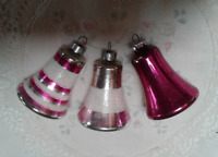 3 Mercury Glass Bells Striped Frosted Christmas ornaments USA Pink Silver Red