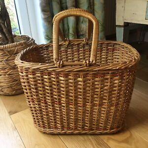 Lovely Large Vintage Wicker Picnic Shopping Basket 43cm X 27cm & 30cm High VGC