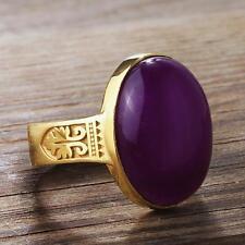 Mens Gemstone Vintage 10K Yellow Gold Ring with GENUINE Purple AMETHYST all sz